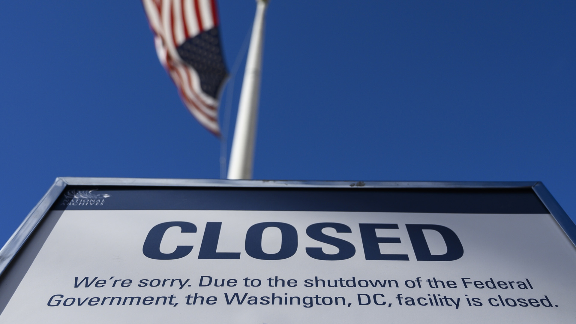 A sign is displayed on a government building that is closed because of a government shutdown in Washington, DC, on December 22, 2018. (Credit: ANDREW CABALLERO-REYNOLDS/AFP/Getty Images)