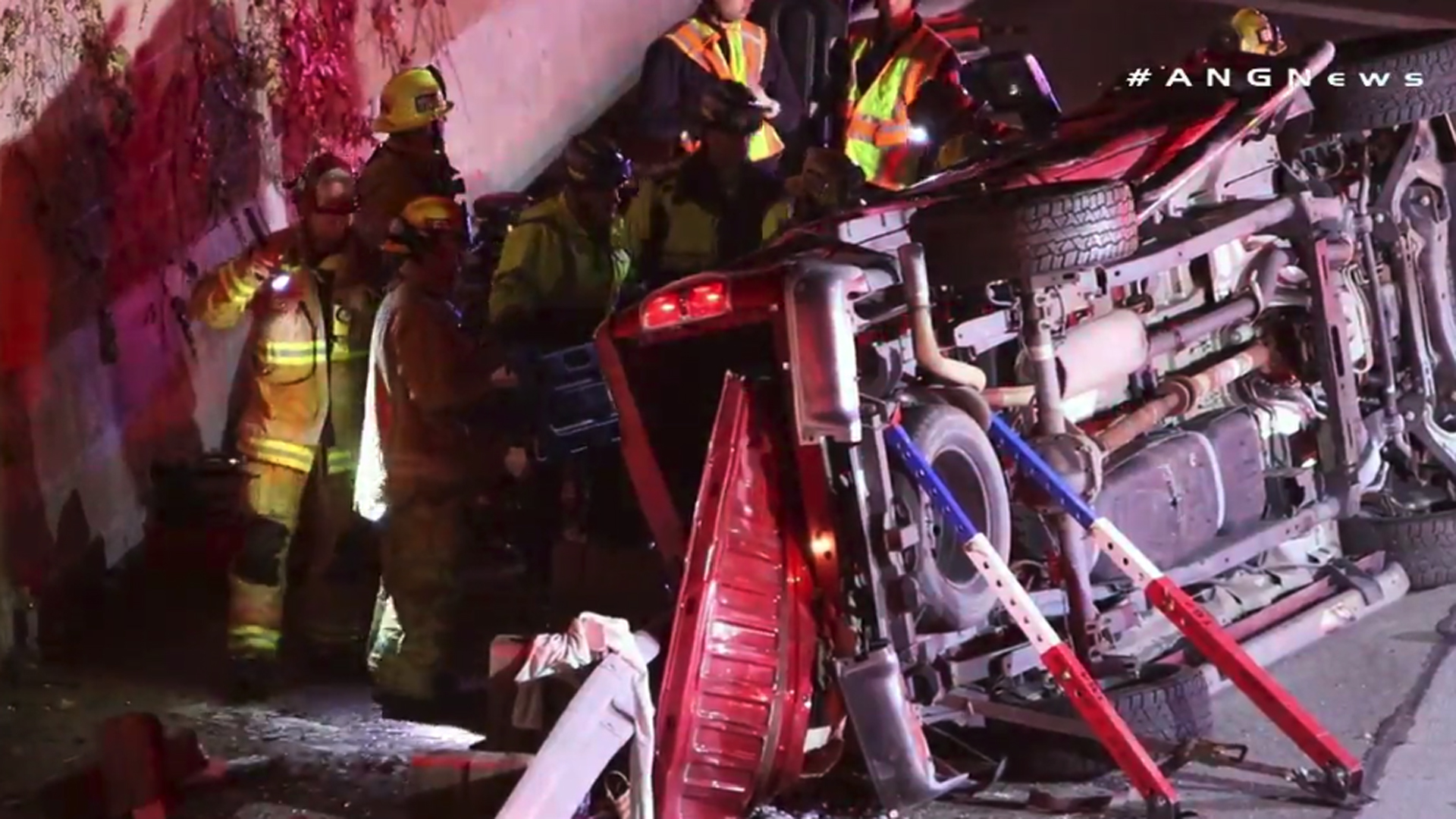 A vehicle overturned in a four-vehicle crash on the 22 Freeway in Garden Grove on Jan. 1, 2019. (Credit: AMGNews)