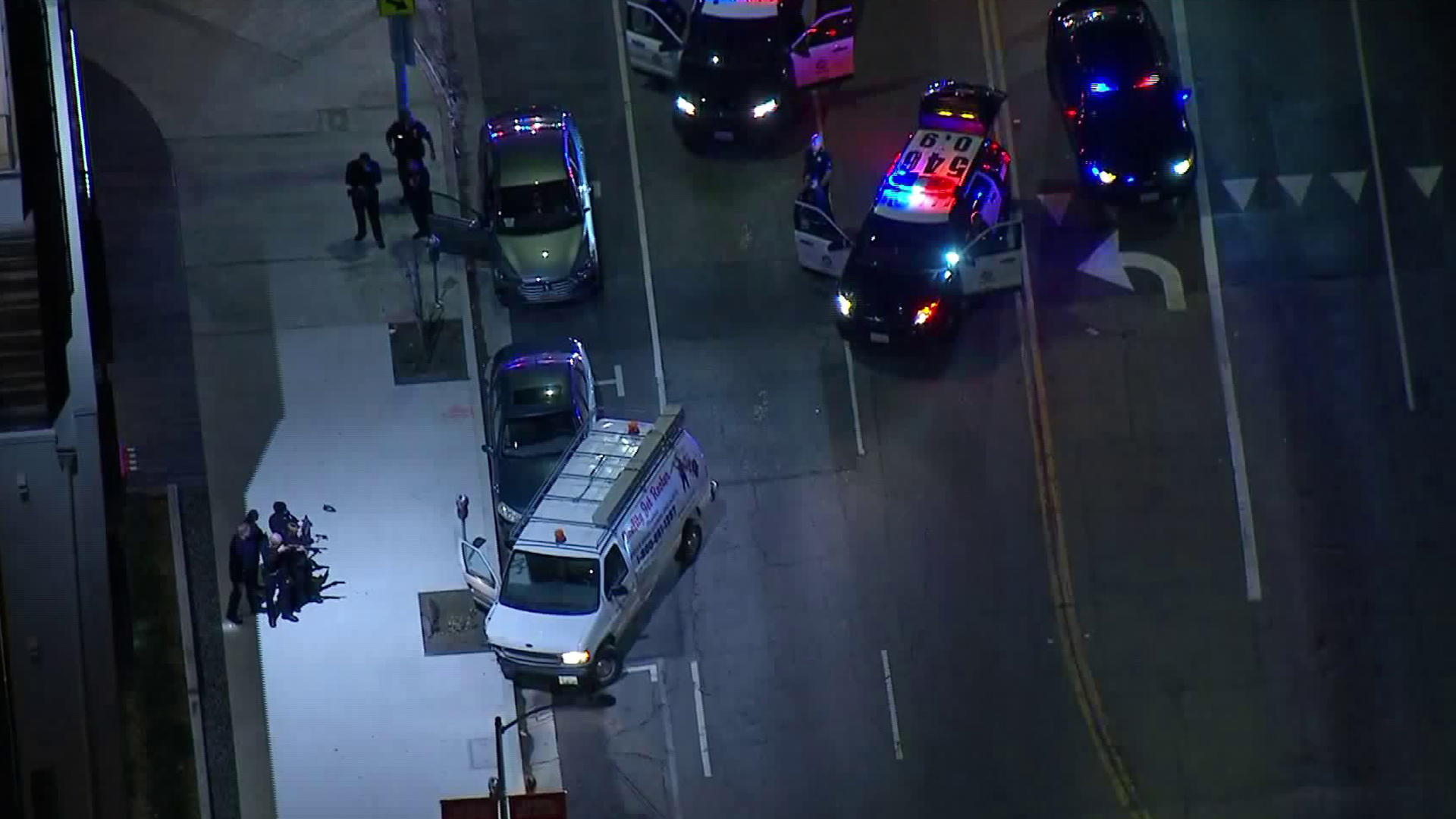 Los Angeles police detain a driver in Hollywood who led officers on a pursuit on Jan. 9, 2019. (Credit: Sky5)