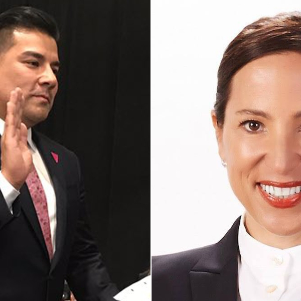 At left, Ricardo Lara is seen being sworn in as California insurance commissioner on Jan. 7, 2019, in a photo posted the his Twitter page. Eleni Kounalakis, right, is seen in a photo posted to her Facebook page in September 2017.