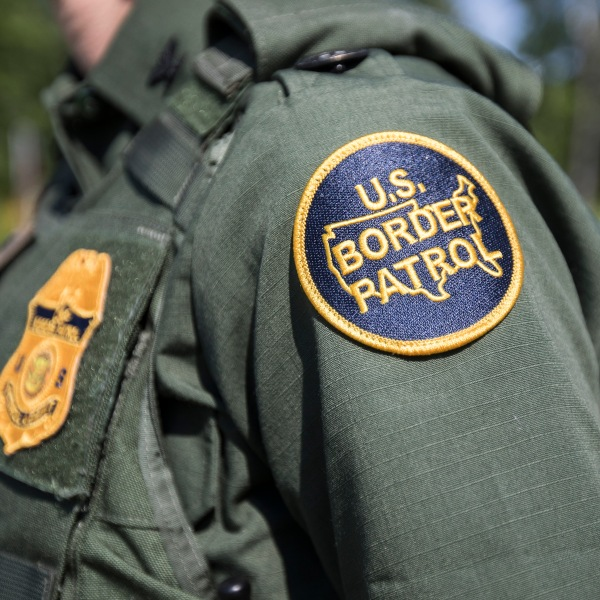 A patch on the uniform of a U.S. Border Patrol agent at a highway checkpoint on Aug. 1, 2018, in West Enfield, Maine. (Credit: Scott Eisen/Getty Images)