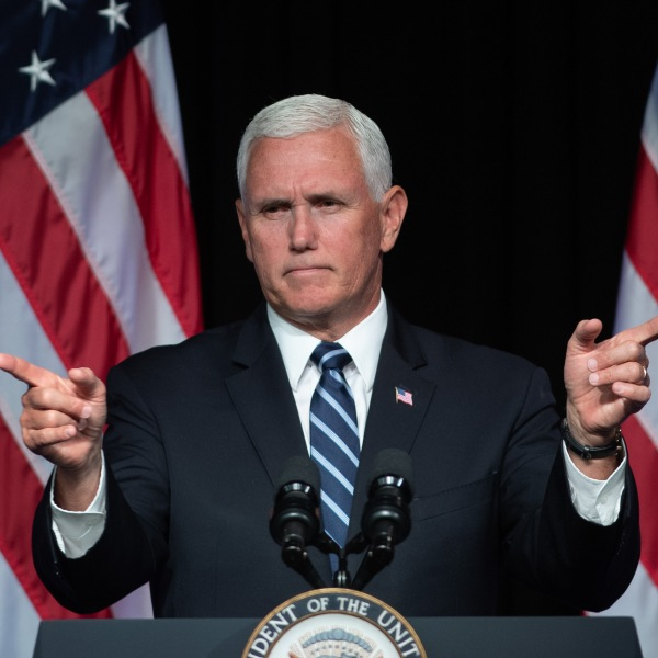 Vice President Mike Pence speaks about the creation of a new branch of the military, Space Force, at the Pentagon on Aug. 9, 2018. (Credit: Saul Loeb/AFP/Getty Images)
