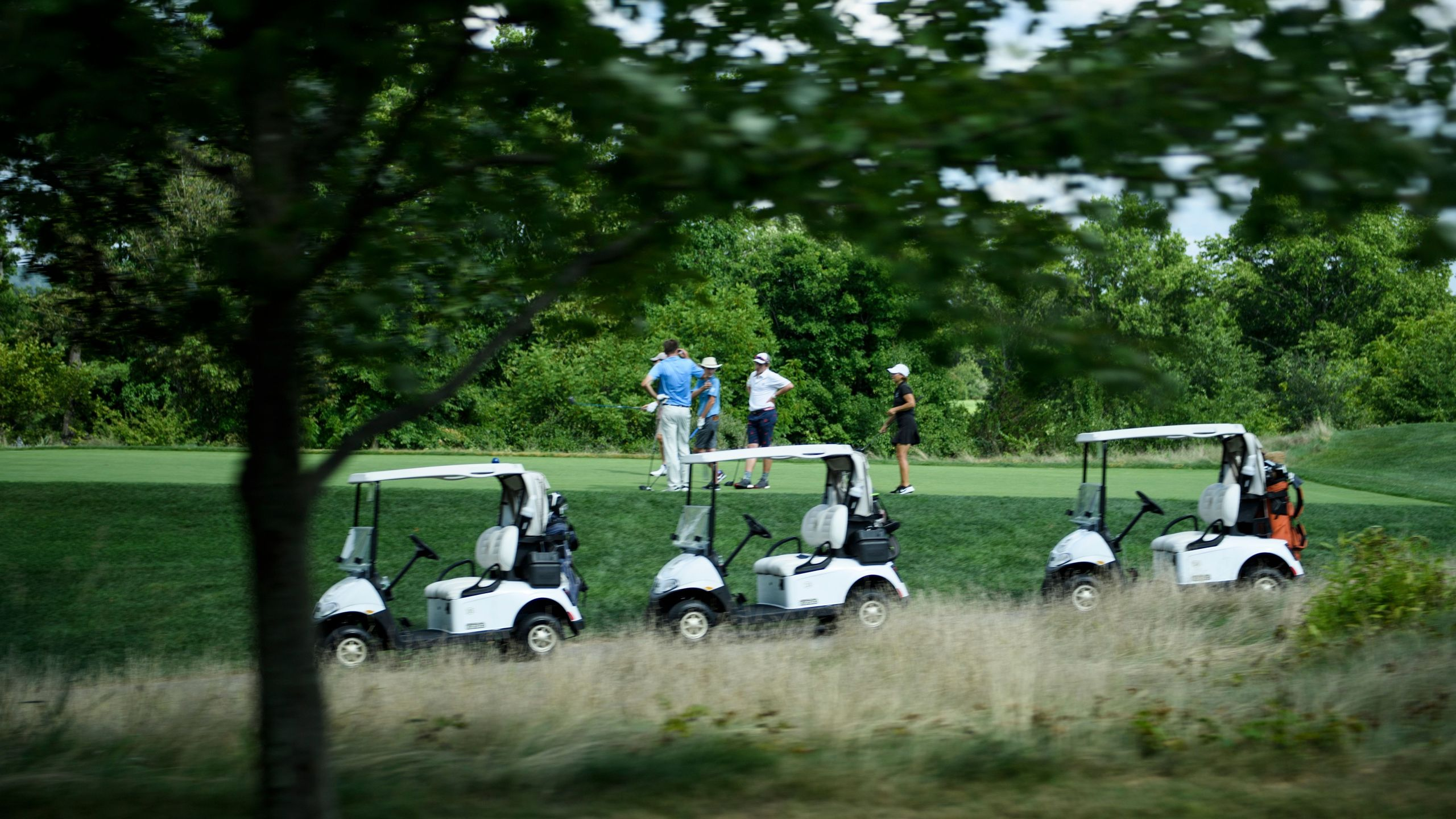 People play golf at the Trump National Golf Club in Bedminster, New Jersey on Aug. 9, 2018. (Credit: Brendan Smialowski/AFP/Getty Images)