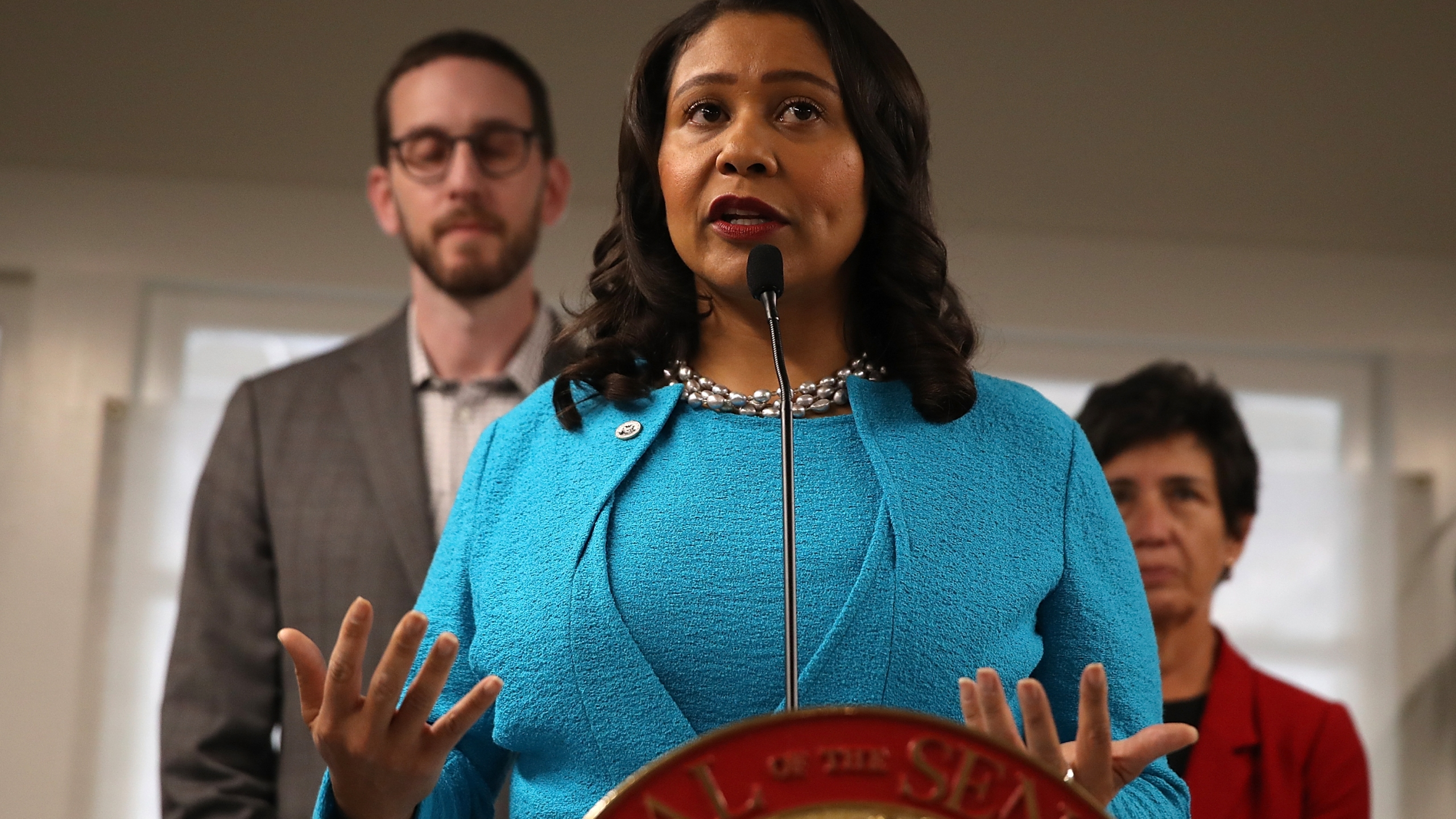 San Francisco mayor London Breed speaks during a news conference to show support for safe injection sites within city limits at HealthRIGHT 360 on Sept. 4, 2018 in San Francisco. (Credit: Justin Sullivan/Getty Images)