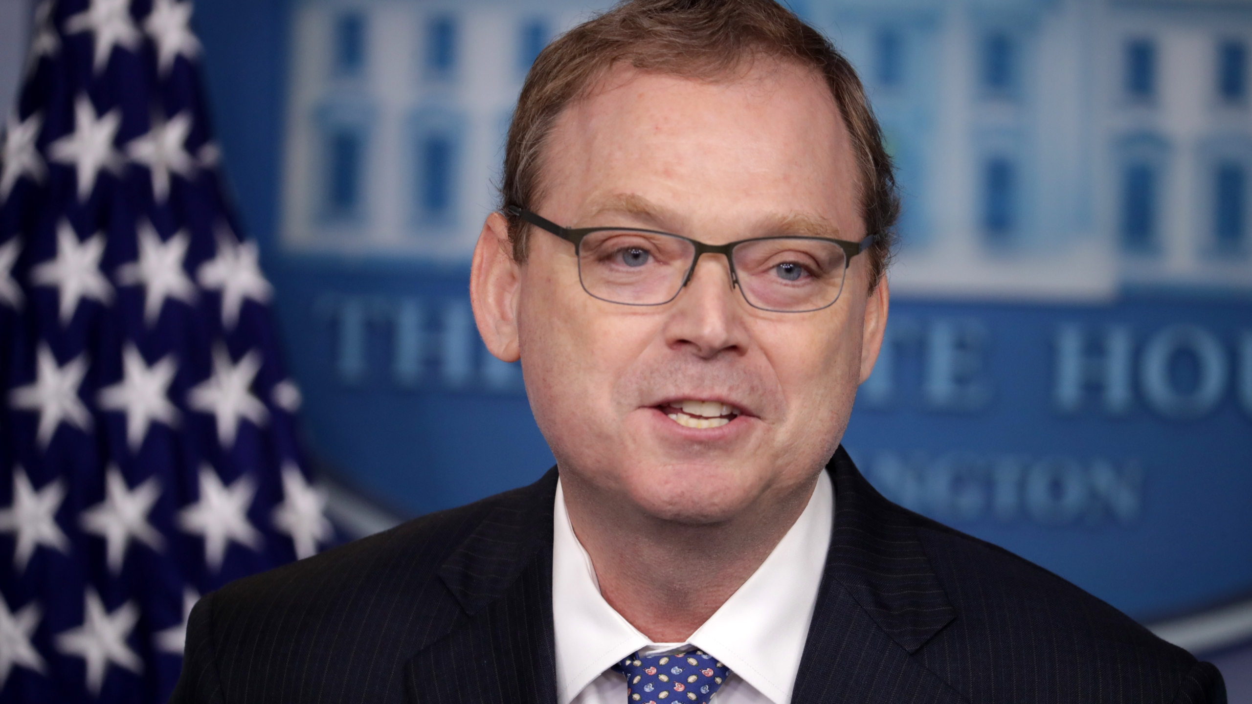 White House Council of Economic Advisers Chairman Kevin Hassett briefs reporters about the Trump Administration's economic policy during a news conference in the Brady Press Briefing Room at the White House September 10, 2018 in Washington, DC. (Credit: Chip Somodevilla/Getty Images)
