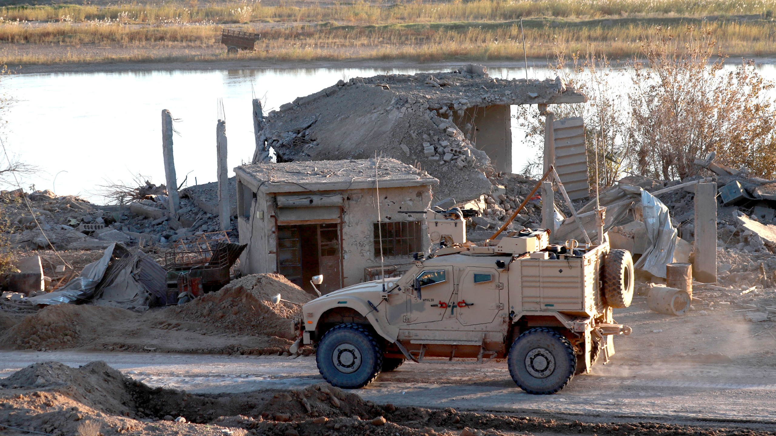 A U.S. army vehicle is seen in the Deir Ezzor province in eastern Syria, on Dec. 15, 2018. (Credit: Delil Souleiman/AFP/Getty Images)
