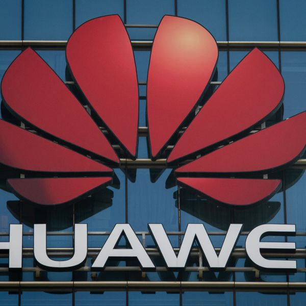 The Huawei logo stands on a Huawei office building in Dongguan in Chinas southern Guangdong province on Dec. 18, 2018. (Credit: NICOLAS ASFOURI/AFP/Getty Images)