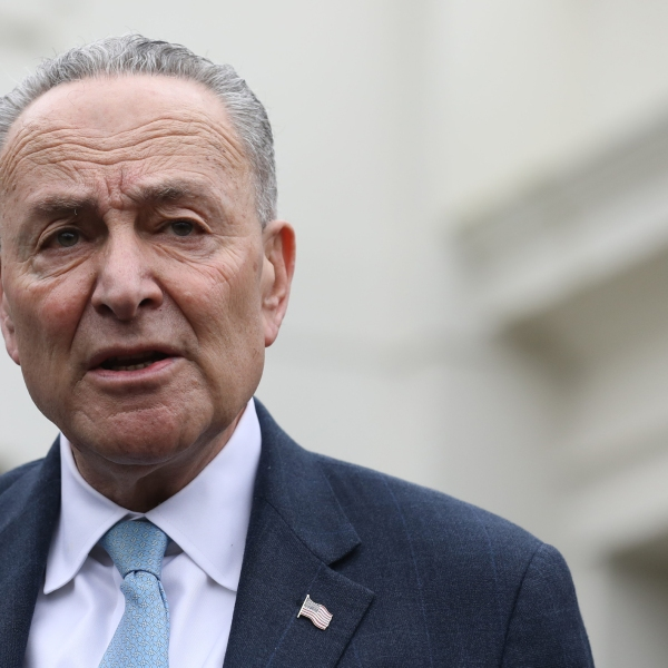 Senate Minority Leader Chuck Schumer, D-NY, speaks to the media outside the White House after meeting with US President Donald Trump to discuss the partial government shutdown, January 4, 2019 in Washington, DC. (Credit: ALEX EDELMAN/AFP/Getty Images)