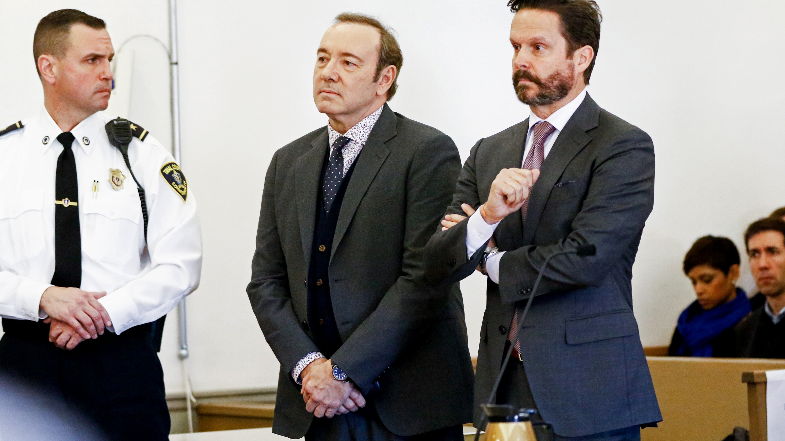 Actor Kevin Spacey attends his arraignment on sexual assault charges with his lawyer Alan Jackson at Nantucket District Court on Jan. 7, 2019, in Nantucket, Mass. (Credit: Nicole Harnishfeger-Pool/Getty Images)