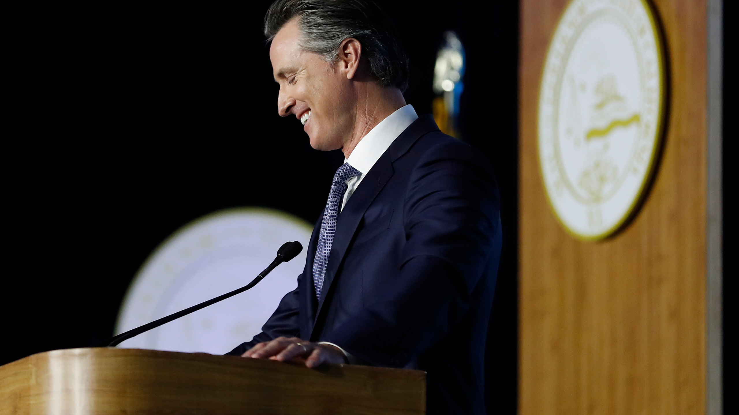 Gov. Gavin Newsom delivers his inaugural address after being sworn in as the 40th governor of California on Jan. 7, 2019, in Sacramento. (Credit: Stephen Lam / Getty Images)