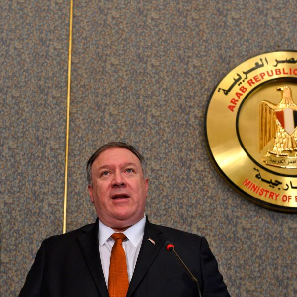 U.S. Secretary of State Mike Pompeo holds a joint press conference with his Egyptian counterpart following their meeting at the ministry of foreign affairs in Cairo on Jan. 10, 2019. (Credit: Andrew Caballero Reynolds/AFP/Getty Images)