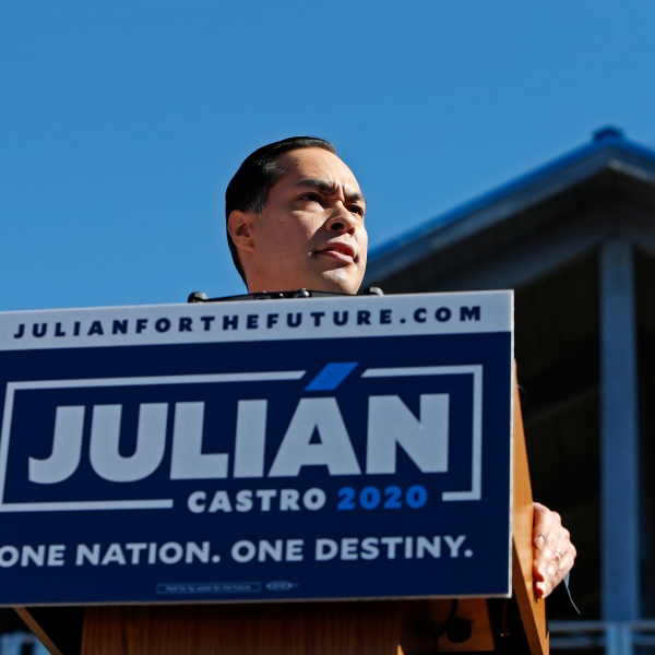 Julian Castro, former U.S. Department of Housing and Urban Development (HUD) Secretary and San Antonio Mayor, announces his candidacy for president in 2020, at Plaza Guadalupe on Jan. 12, 2019, in San Antonio, Texas.(Credit: Edward A. Ornelas/Getty Images)