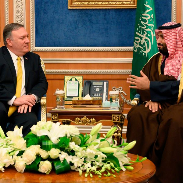 US Secretary of State Mike Pompeo (L) meets with Saudi Crown Price Mohammed bin Salman at the Royal Court in Riyadh on January 14, 2019. (Credit: ANDREW CABALLERO-REYNOLDS/AFP/Getty Images)