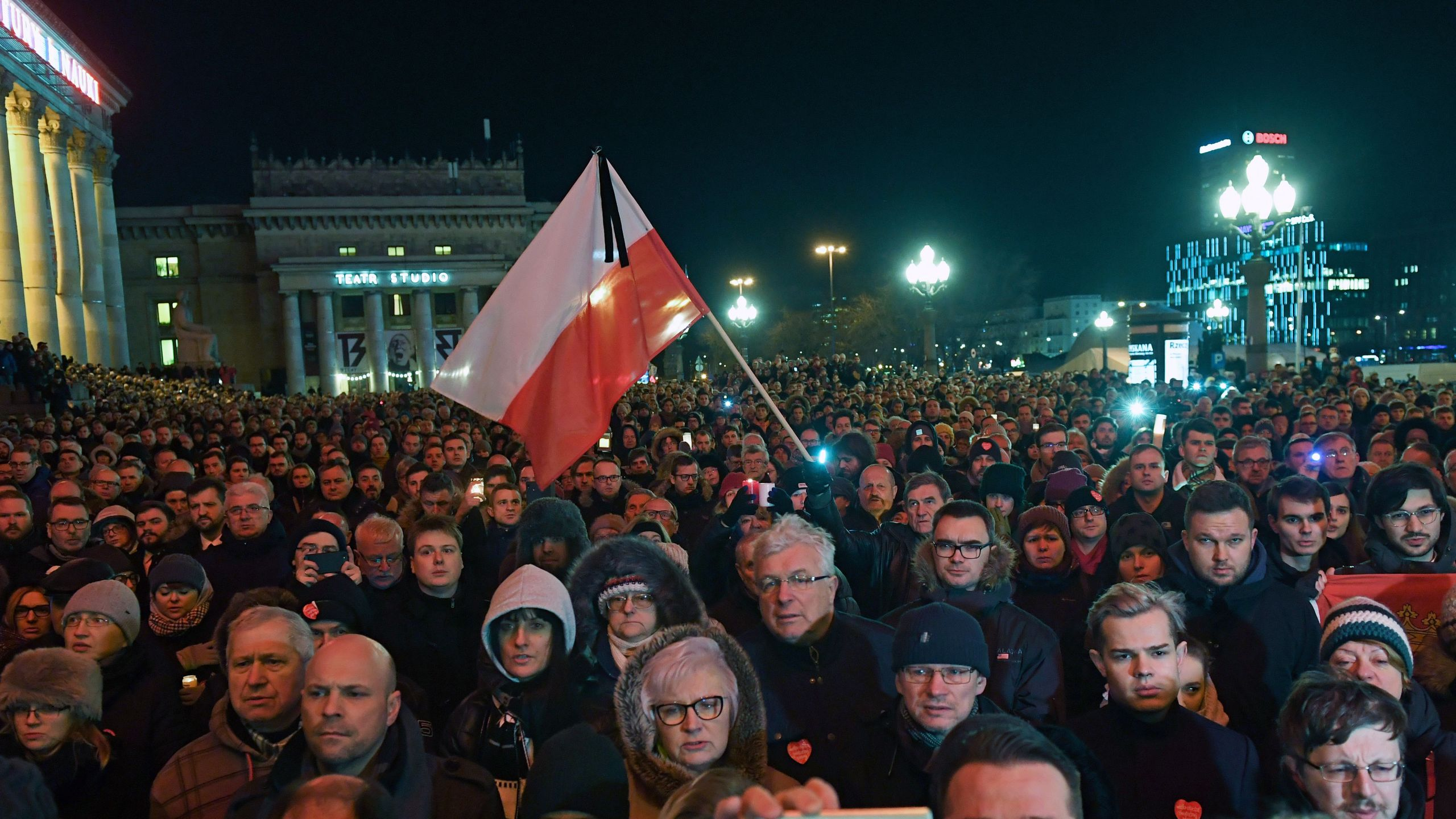 """Thousands of people gather in Warsaw under the slogan """"Stop Hatred"""" on January 14, 2019 to protest against violence and honour Pawel Adamowicz, the late mayor of Polish port city Gdansk, who died after being stabbed in the heart by a young man at a weekend charity fundraiser. (Credit: JANEK SKARZYNSKI/AFP/Getty Images)"""