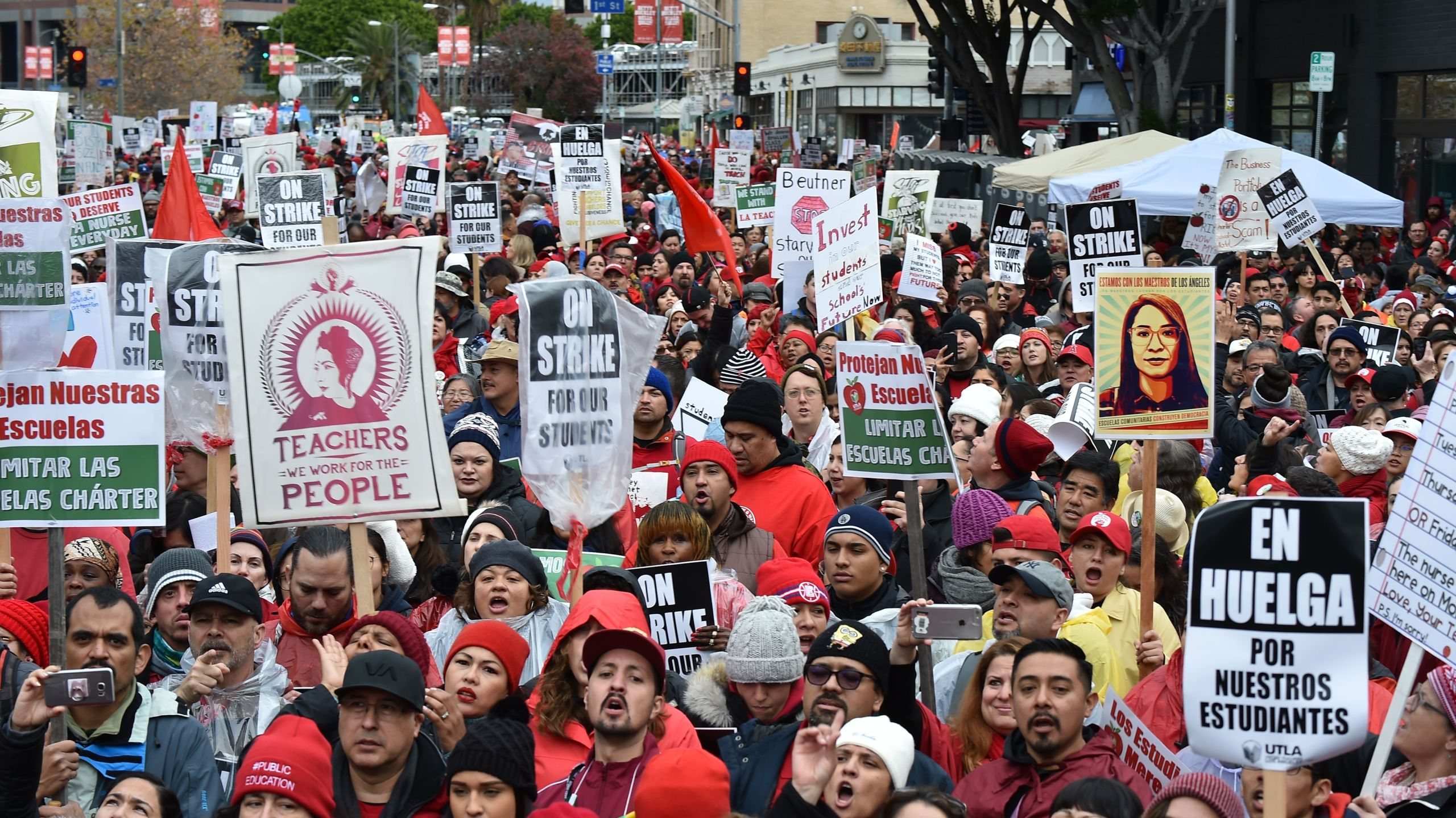 Striking teachers and their supporters rally in downtown Los Angeles, on the second day of the teachers strike, on Jan. 15, 2019. (Credit: Robyn Beck/AFP/Getty Images)