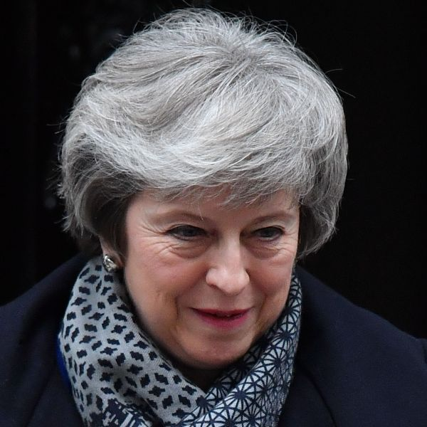 Britain's Prime Minister Theresa May leaves 10 Downing Street in London on January 16, 2019 ahead of Prime Minister's Questions (PMQs) to be followed by a debate and vote on a motion of no confidence in the government. (Credit: BEN STANSALL/AFP/Getty Images)