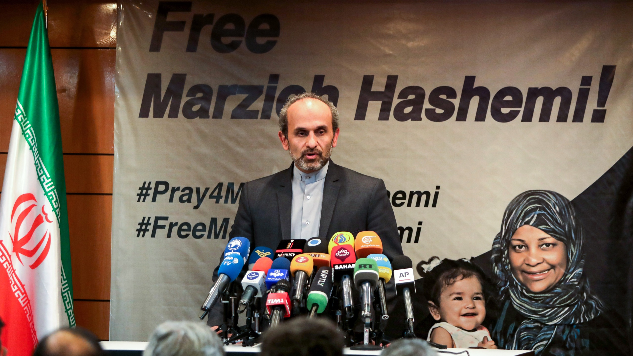 Peyman Jebelli, chief of the world service for the Islamic Republic of Iran Broadcasting speaks during a press conference in the capital Tehran on Jan. 16, 2019. (Credit: Atta Kenare/AFP/Getty Images)