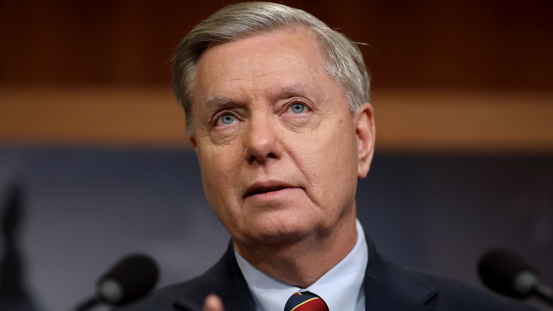 Sen. Lindsey Graham speaks during a press conference at the U.S. Capitol on Dec. 20, 2018, in Washington, D.C. (Credit: Win McNamee/Getty Images)