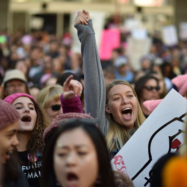 Protestors shout during the third annual Women's March in downtown Los Angeles on Jan. 19, 2019. (Credit: ROBYN BECK/AFP/Getty Images)