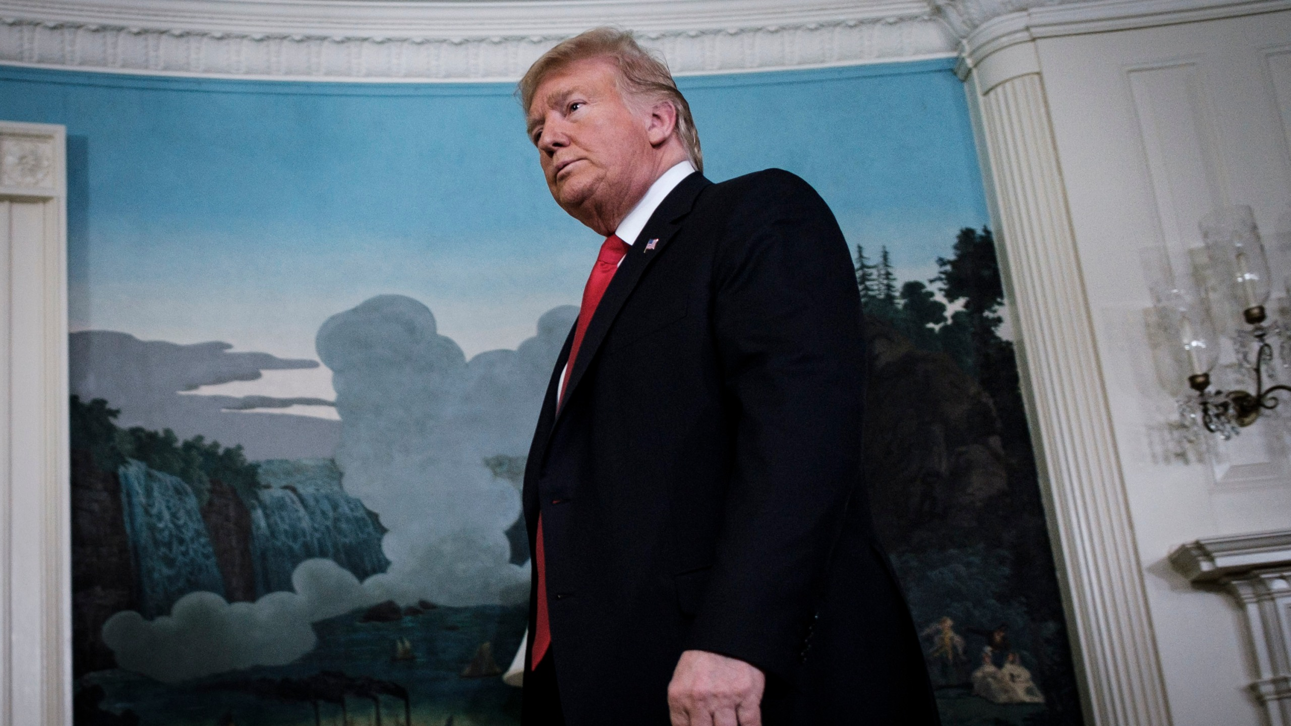 Trump exits the Diplomatic Reception Room at the White House on Jan. 19, 2019 in Washington, D.C. (Credit: Pete Marovich/Getty Images)