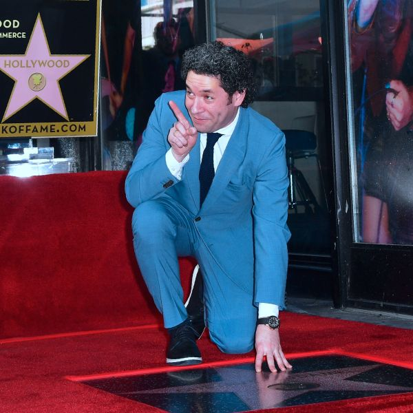 Venezuelan conductor Gustavo Dudamel poses on his Hollywood Walk of Fame Star in Hollywood on Jan. 22, 2019. (Credit: FREDERIC J. BROWN/AFP/Getty Images)