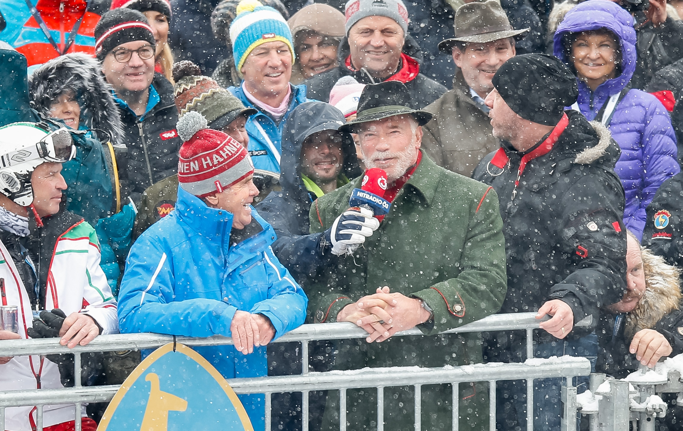 Arnold Schwarzenegger appears in the Audi FIS Alpine Ski World Cup Men's Slalom on Jan. 26, 2019 in Kitzbuehel Austria. (Credit: Christophe Pallot/Agence Zoom/Getty Images)