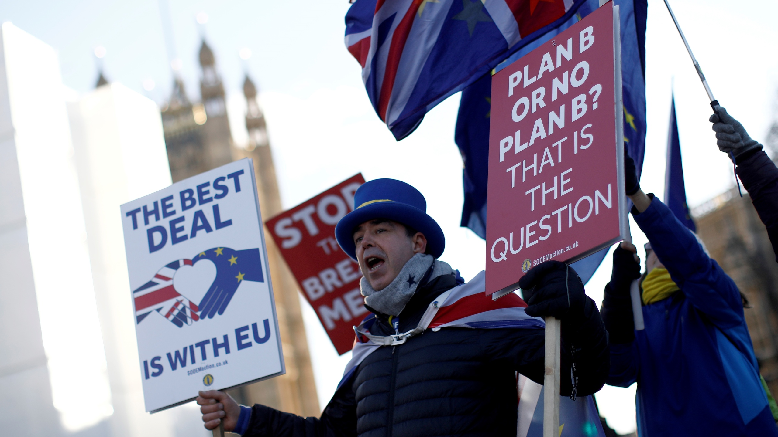 Anti-Brexit campaigner Steve Bray holds placards as he demonstrates near the Houses of Parliament in central London on Jan. 28, 2019. (Credit: TOLGA AKMEN/AFP/Getty Images)
