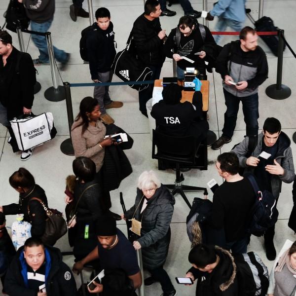 Passengers wait in a Transportation Security Administration line at JFK airport on Jan. 09, 2019 in New York City. (Credit: Spencer Platt/Getty Images)