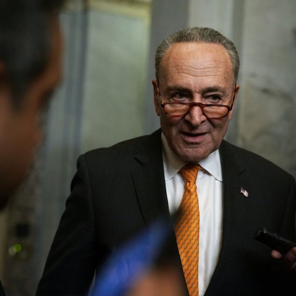 Chuck Schumer (D-NY) speaks to members of the media after he returned to the U.S. Capitol from a meeting at the White House Jan. 9, 2019. (Credit: Alex Wong/Getty Images)
