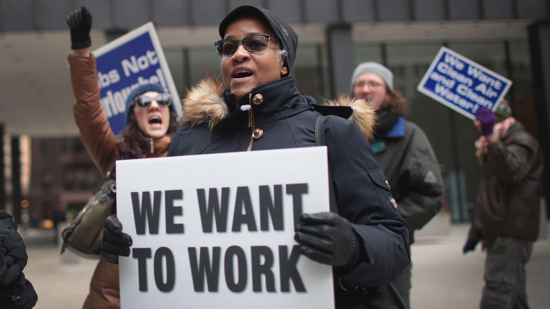 Government workers protest the government shutdown during a demonstration in the Federal Building Plaza on Jan. 10, 2019, in Chicago, Illinois. (Credit: Scott Olson/Getty Images)