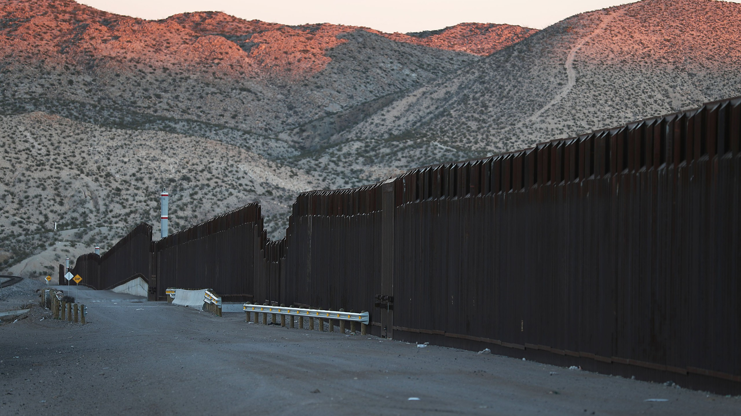 The U.S.-Mexico border fence is seen January 11, 2019 in Sunland Park, New Mexico. (Credit: Joe Raedle/Getty Images)