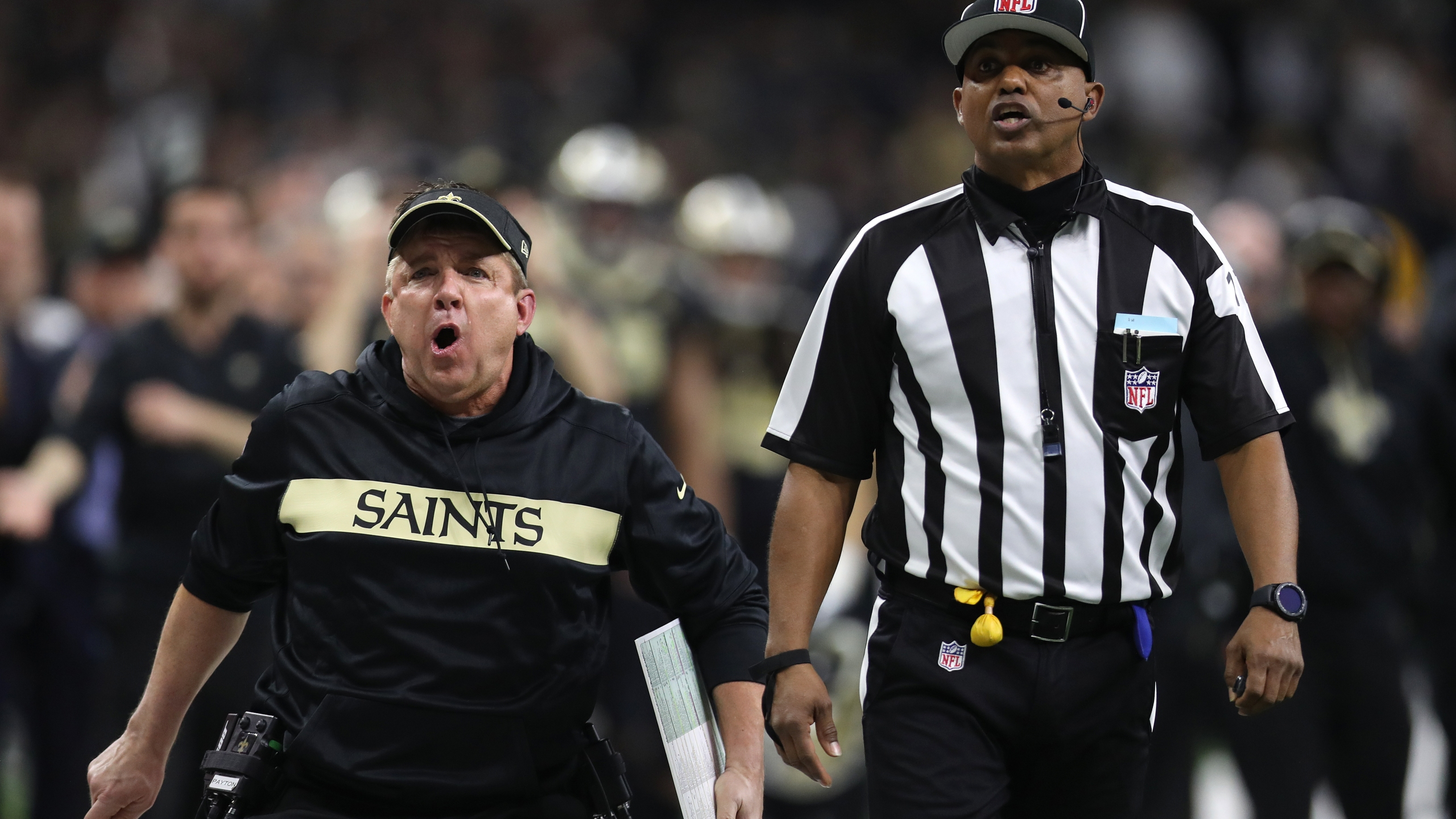 Coach Sean Payton of the New Orleans Saints reacts against the Los Angeles Rams during the fourth quarter in the NFC Championship game at the Mercedes-Benz Superdome on Jan. 20, 2019 in New Orleans, Louisiana.(Credit: Chris Graythen/Getty Images)