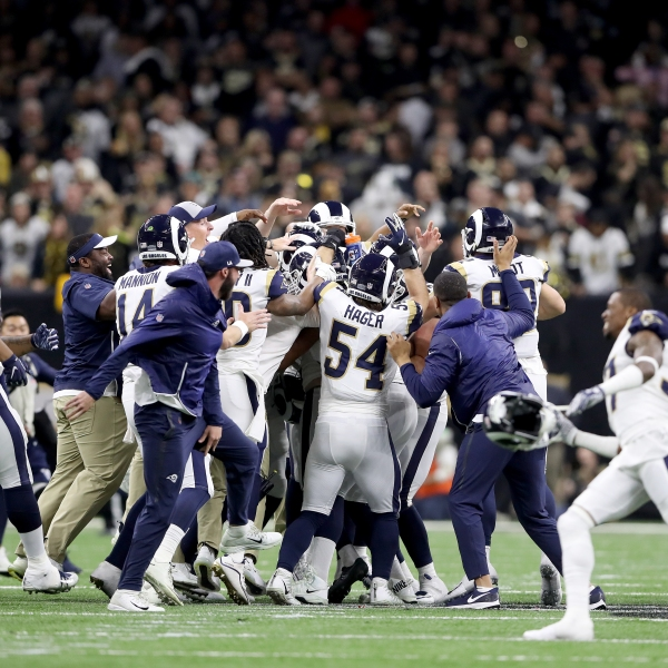 Johnny Hekker #6 and Greg Zuerlein #4 of the Los Angeles Rams celebrate after kicking the game winning field goal in overtime against the New Orleans Saints in the NFC Championship game at the Mercedes-Benz Superdome on January 20, 2019 in New Orleans. (Credit: Streeter Lecka/Getty Images)
