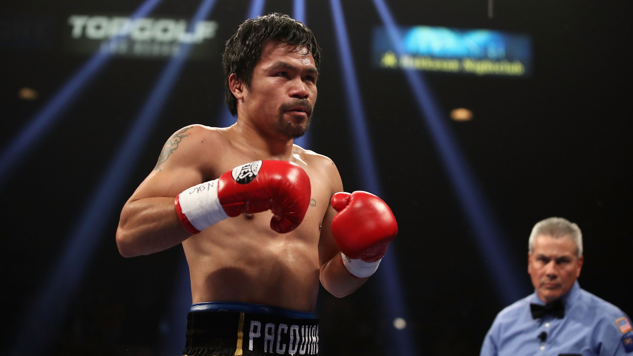 Manny Pacquiao in the ring during the WBA welterweight championship against Adrien Broner at MGM Grand Garden Arena in Las Vegas on Jan. 19, 2019. (Credit: Christian Petersen/Getty Images)