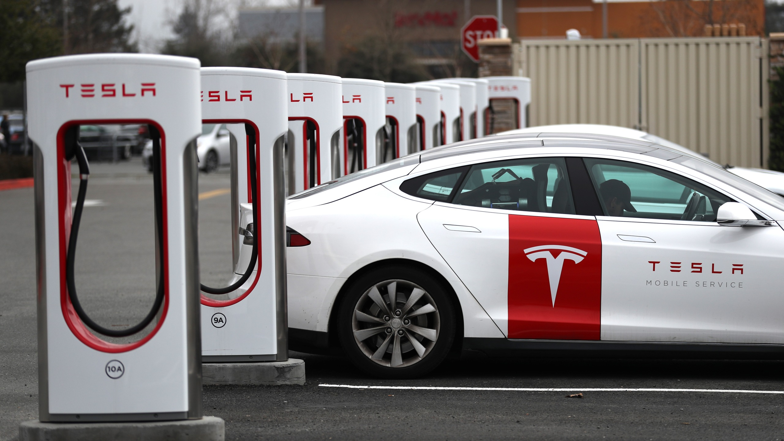 Tesla cars recharge at a Tesla Supercharger facility on January 30, 2019 in Petaluma, California. (Credit: Justin Sullivan/Getty Images)