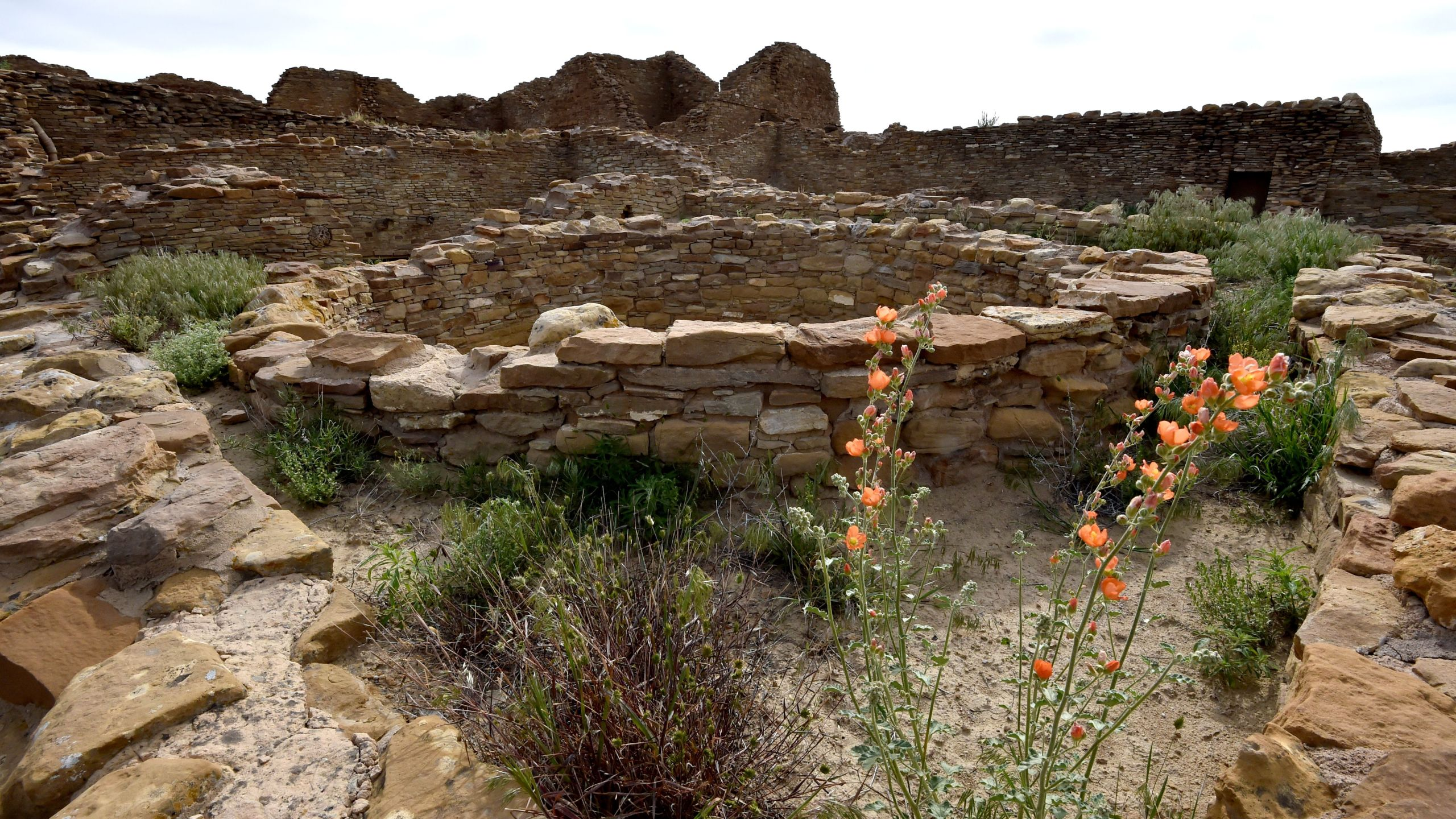 The ruins of Pueblo del Arroyo house built by Ancient Puebloan People is seen at Chaco Culture National Historical Park on May 20, 2015. (Credit: Mladen Antonov/AFP/Getty Images)