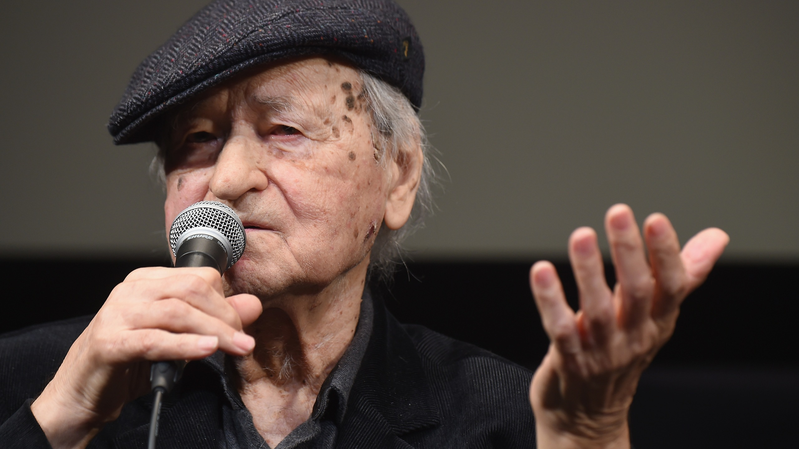 """Jonas Mekas takes part in a Q&A following the """"I Had Nowhere To Go"""" screening during the 54th New York Film Festival at The Film Society of Lincoln Center, Walter Reade Theater on Oct. 13, 2016. (Credit: Michael Loccisano/Getty Images)"""