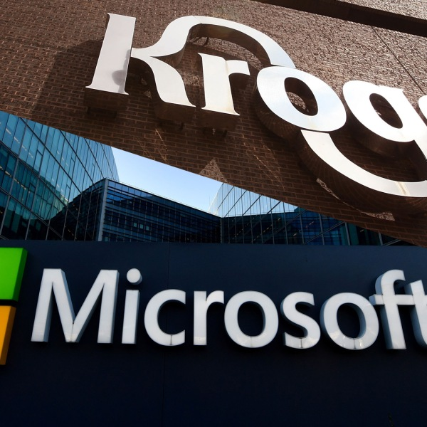 Signs identify Kroger and Microsoft outside the company headquarters. (Credit: Getty Images)