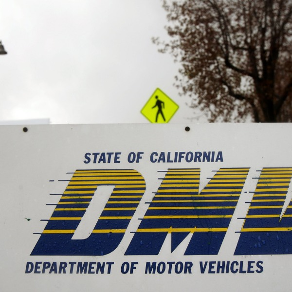 A sign is seen at the State of California Department of Motor Vehicles (DMV) February 6, 2009 in Pasadena, California. (Credit: David McNew/Getty Images)