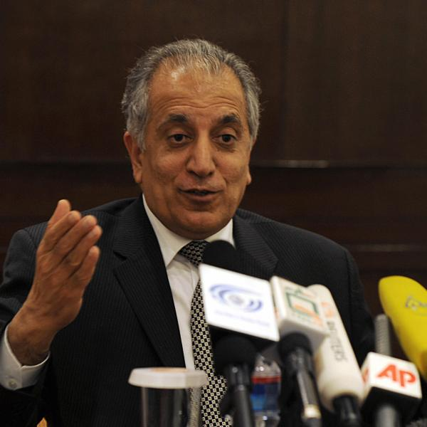 Zalmay Khalilzad at a press conference in Kabul on March 12, 2009. (Credit: Massoud Hossani/AFP/Getty Images)