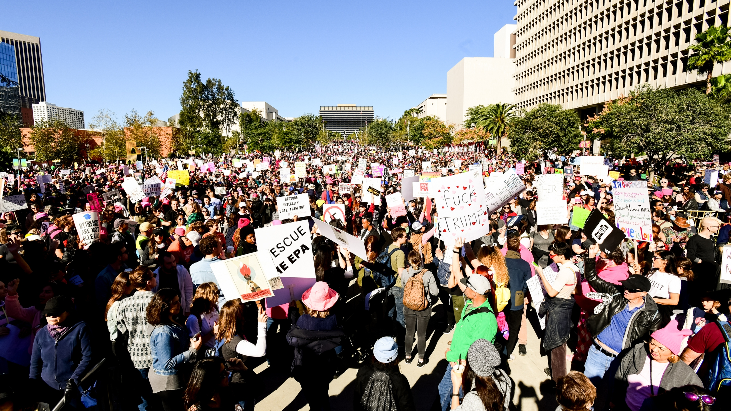 A view of the crowd at the women's march Los Angeles on Jan. 20, 2018 in Los Angeles. (Credit: Emma McIntyre/Getty Images)
