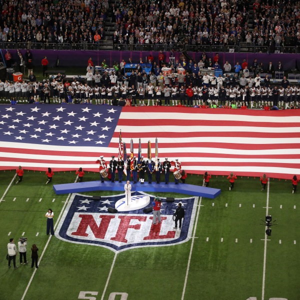 Pink sings the national anthem prior to Super Bowl LII between the New England Patriots and the Philadelphia Eagles at U.S. Bank Stadium in Minneapolis on Feb. 4, 2018. (Credit: Christian Petersen / Getty Images)