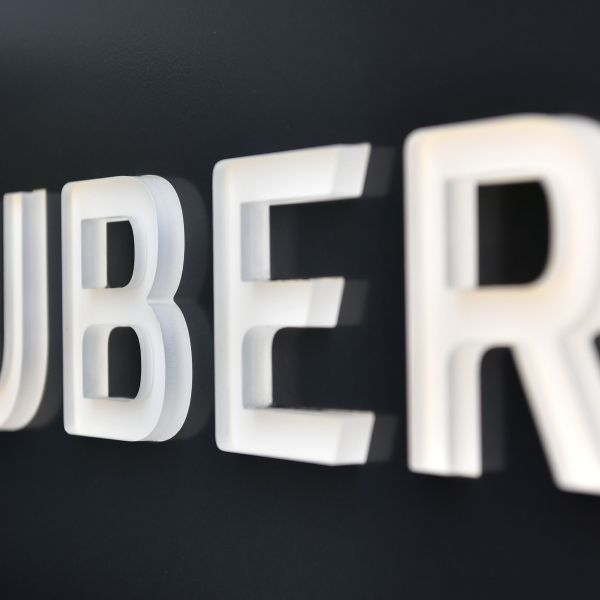The Uber logo is seen outside the Uber Corporate Headquarters building in San Francisco, California on Feb. 5, 2018. (Credit: JOSH EDELSON/AFP/Getty Images)