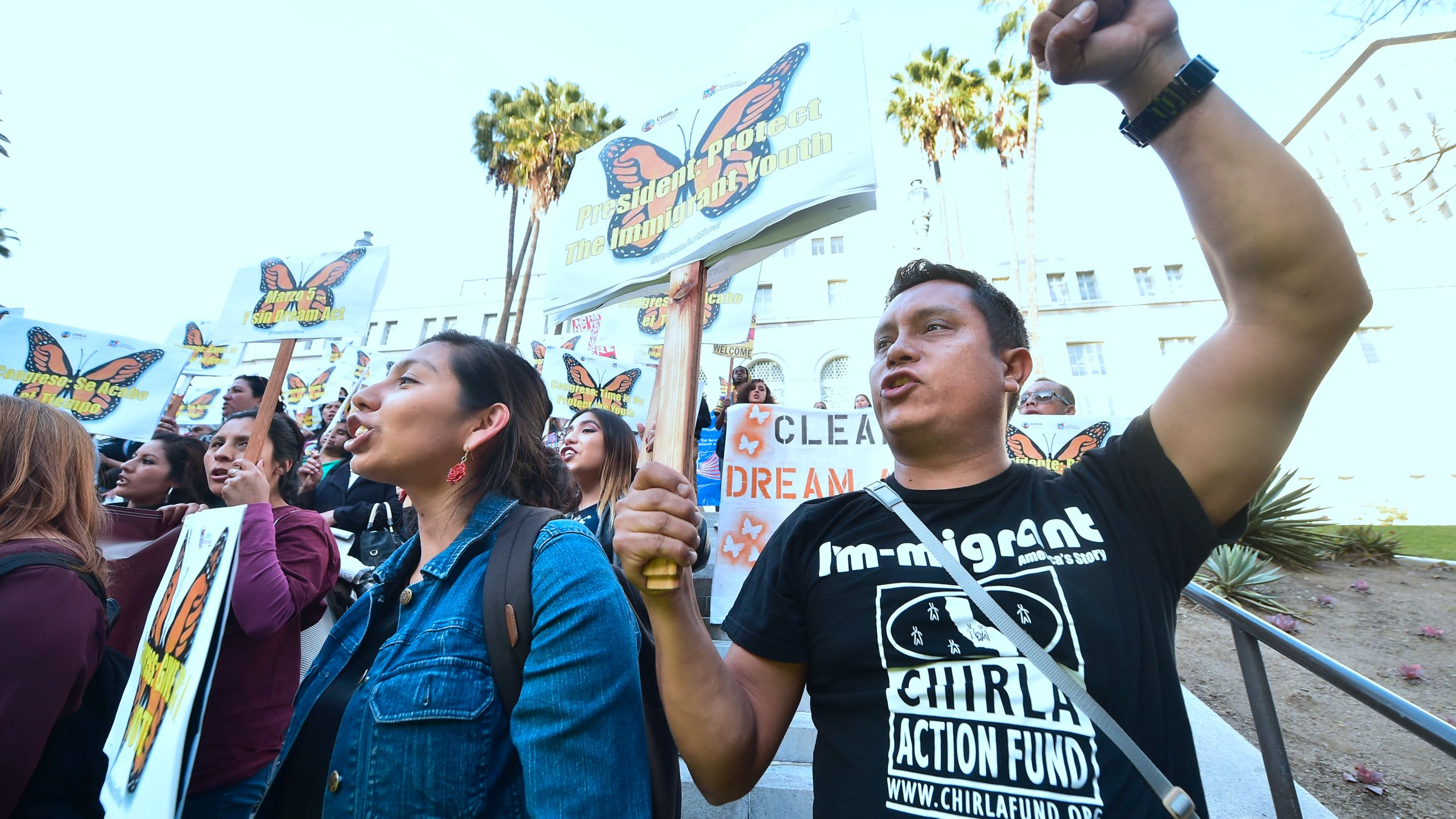 DACA recipients and advocates rally in support of the Deferred Action for Childhood Arrivals program in downtown Los Angeles on March 5, 2018. (Credit: Frederic J. Brown / AFP / Getty Images)
