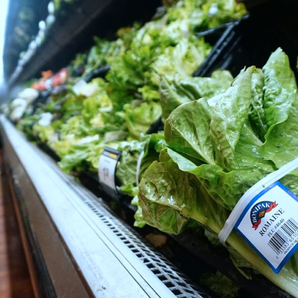 A man shops for vegetables beside Romaine lettuce at a supermarket on May 2, 2018, in Los Angeles where the first death from an E. coli outbreak related to contaminated Romaine lettuce was reported. (Credit: Frederic J. BROWN / AFP / Getty Images)