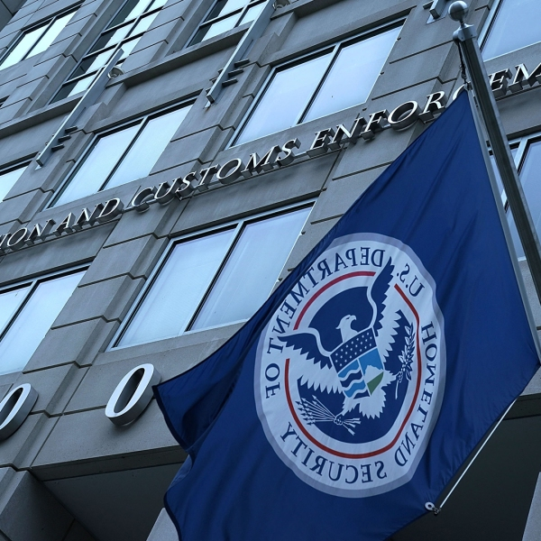 An exterior view of U.S. Immigration and Customs Enforcement (ICE) agency headquarters is seen on July 6, 2018, in Washington, DC. (Credit: Alex Wong/Getty Images)