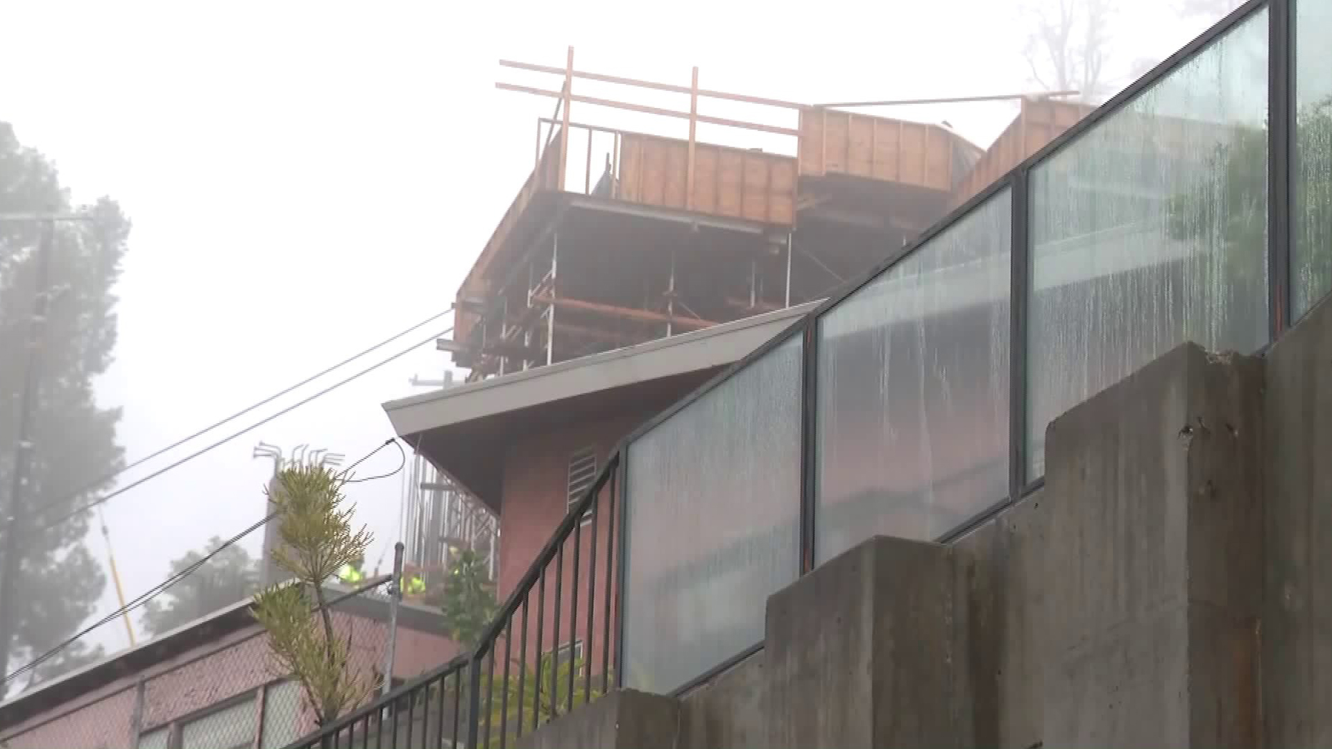 The mud and debris flows happened beneath this home in Hollywood Hills West on Jan. 17, 2019. (Credit: KTLA)