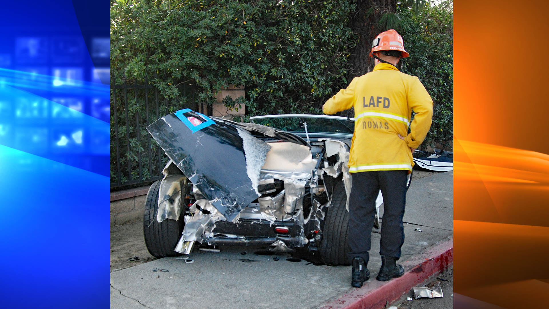A custom-built sports car is seen in Northridge following a deadly crash on Jan. 26, 2019. (Credit: Los Angeles Fire Department)