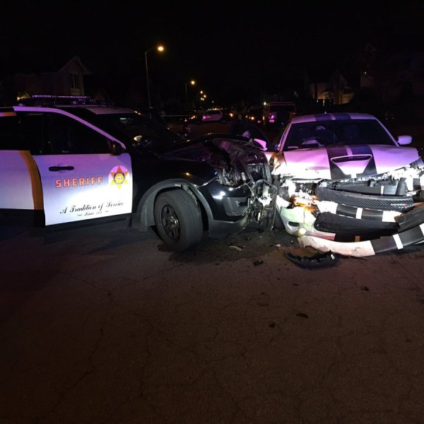 A fleeing suspect crashed a car into a Los Angeles County Sheriff's Department deputy's patrol car at the end of a pursuit in Norwalk on Jan. 25, 2019. (Credit: L.A. County Sheriff's Department)