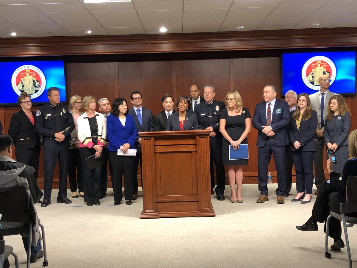 L.A. County District Attorney Jackie Lacey is joined by the L.A. County Board of Supervisors, L.A. County Sheriff Alex Villanueva and LAPD Chief Michel Moore along with other officials to announce the establishment of a mental health division at the DA's Office on Jan. 23, 2019. (Credit: Twitter.com/LADAOffice)